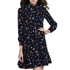 Spring Summer New Style Printing Loose Chiffon Long Sleeves Middle Lady′s Dress pictures & photos