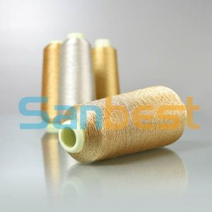Metallic Golden Embroidery Thread with Polyester or Rayon Core Yarn pictures & photos
