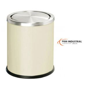 Milky Powder Coated Steel Trash Bin Waste Bin pictures & photos