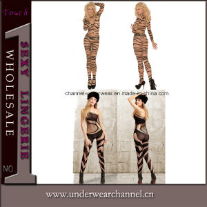 Transparent Zebra Print Lace Sock Bodystocking Ladies Body Stocking (79590) pictures & photos