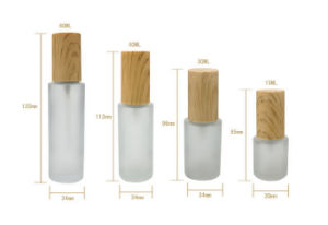 Glass Cosmetic Packaging Set with Bamboo Lid pictures & photos