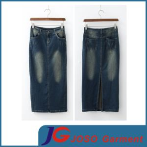 Ladies Denim Long Skirt Chinese Supplier (JC2061) pictures & photos