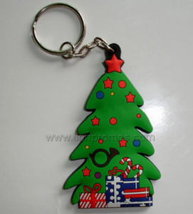 Christmas Tree Shape PVC Rubber Keychain pictures & photos