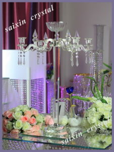 Beautiful 5 Arms Crystal Candelabra with Flower Bowl
