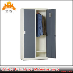 2 Tier Flat Packed Steel Furniture Metal Clothes Cabinet with Two Doors pictures & photos