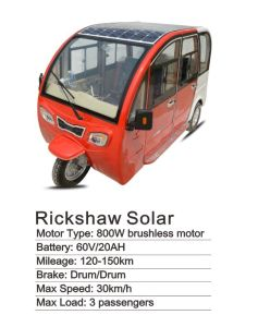 Electric Rickshaw with Solar Power System pictures & photos