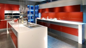 Australia Style Red High Gloss Lacquer MDF Kitchen Cabinets pictures & photos