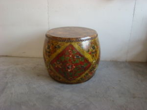 Antique Reproduction Painted Drum (W-175)