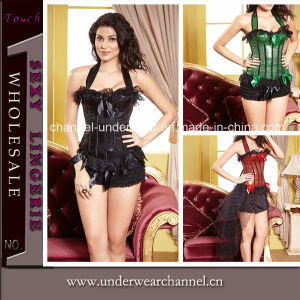 Sexy Lady Halter Sequin Overbust Corset Lingerie (TWK1480) pictures & photos
