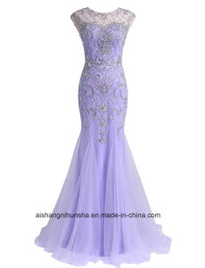 Women Beading Tulle Sheath Evening Party Prom Dress pictures & photos