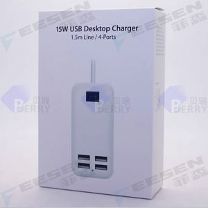 5V 15W 1.5m Line Desktop 4 Port USB Wall Charger Power Adapter EU/Us/UK Plug