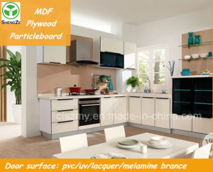 PVC Door Cheap Modern Kitchen Cabinet for High Quality pictures & photos