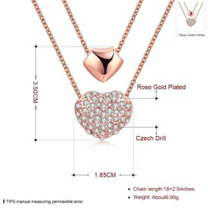 Fashion K Gold Mutil Row Heart Shape Czech Drill Pendant Necklace Rose Gold Plated pictures & photos