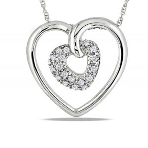 Double Heart 925 Sterling Silver Pendants Necklace Jewelry for Women pictures & photos