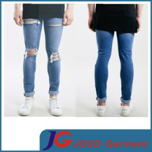 Light Wash Stretch Knee Holes Men Skinny Rips Jeans (JC3341) pictures & photos
