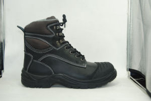 Middle Cut Safety Shoes with Steel Toe and Steel Plate PU Outsole Smooth Finishing Leather