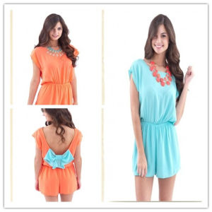 2014 New Design Romper with Bow Back for Women/Lady Romper (HSL0001)
