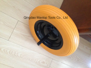 China Solid Rubber Flat Free PU Foam Trolley Wheel pictures & photos