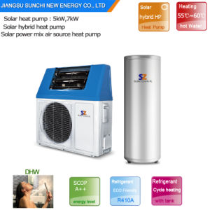 Family Sanitary 60deg. C Hot Water 220V 5kw, 7kw, 9kw Tankless Save 80% Electric Supper Cop5.32 Air Solar Heat Pump Water Heater pictures & photos