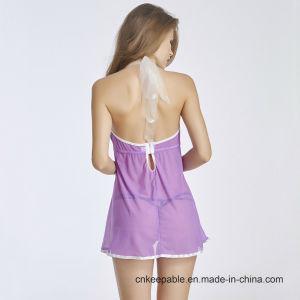 Women Sexy Nightwear Halter Lace Strap Underwear Lingerie Babydoll pictures & photos