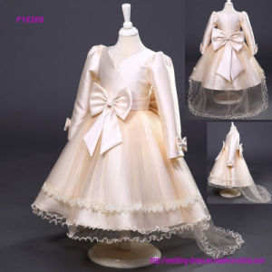 Long Sleeve Flower Girl Dress Lace Applique Ruffles pictures & photos