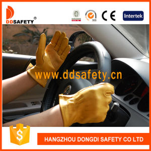 Ddsefety 2017 Yellow Cow Grain Leather Driver Gloves Without Lining pictures & photos