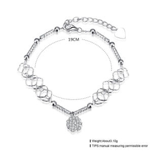 Hot Sale Europe 925 Sterling Steel Bracelet Pendant Link with Chain Beautiful Crystal Silver Jewelry pictures & photos