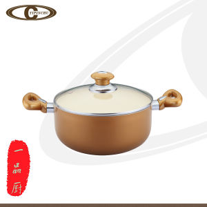 Gold Sauce Pot with Interior Coating White Creamic