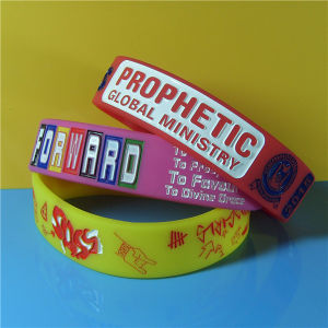 20mm Debossed Ink Filled Silicone Wristband pictures & photos
