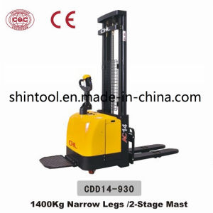 1.4 Ton Electric Pallet Stacker Cdd14-930 with Narrow Legs pictures & photos