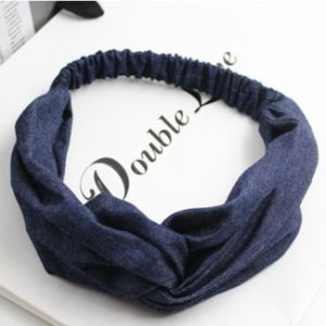 Denim Cowgirl Women Cross Elastic Hairband Denim Fabric Headband Headwrap Knotted Band Hair Accessories pictures & photos