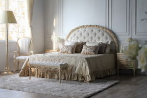French Style Wood Bed Fabric Double Bed pictures & photos