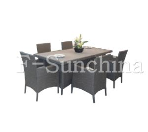 Garden Stone Table, With PE Wicker Frame