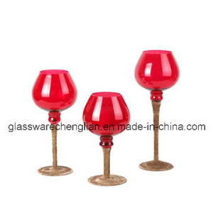 Red Color of Hand Blown Glass Candle Holders Glassware (ZT-082.) pictures & photos