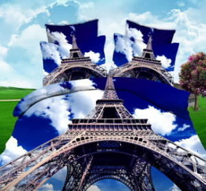 Eiffel Tower 3D Planel Printing Fabric for Bedsheet pictures & photos