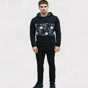 Machine Wash Worland Mesh Floral Hoodie in Black pictures & photos