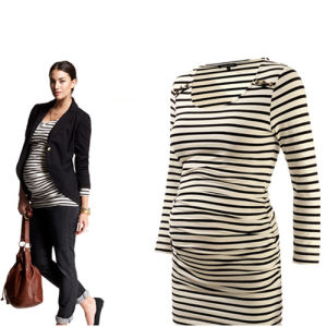 Stripe Bottoming Shirt Ladies Dress Maternity Clothes pictures & photos
