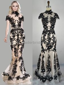 Black and cream lace evening dress