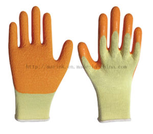 10g High Grade Polyester Shell, Orange Latex Crinkle Finish Palm Coated Work Safety Gloves pictures & photos
