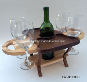 4 Glass One Bottle Wooden Desk Wine Caddy Wine Accessories Wine Holder pictures & photos