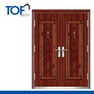 Exterior Decorated High Quality Steel Security Double Swing Door
