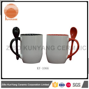 Color Rim, Color Inside and Color Handle Sublimation Mug with Spoon pictures & photos