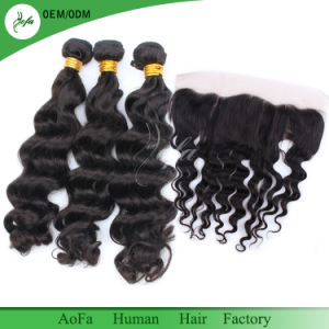 Raw Indian Hair Frontal Closure with 3 Bundles Indian Loose Wave 8A 100% Unprocessed Hair pictures & photos