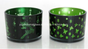 Votive Type Glass Candle Jar with Gold Printing Cylinder Glass Candle Jar pictures & photos