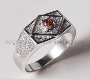 Fashion 925 Silver Men′s Ring with CZ Stone