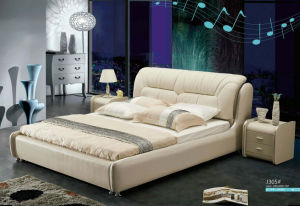 New Canton Fair Bed, Bedroom Furniture, Modern Leather Bed (J305) pictures & photos