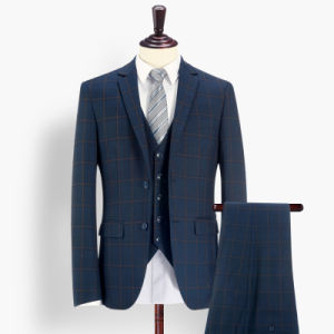 Wholesale Stripe Check Woolen Wedding Man Suit pictures & photos