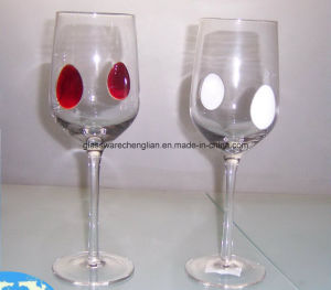 Clear Wine Glass with Solid Colorul Dots (CLC0923Z) pictures & photos