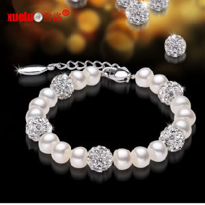 Fashionable Cultured Freshwater Pearl with Crystals Bracelet pictures & photos