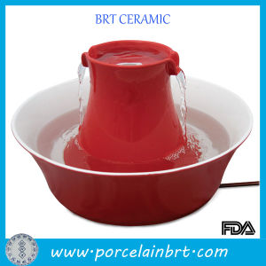 Red Round Ceramic Drinking Water Fountain for Pet pictures & photos